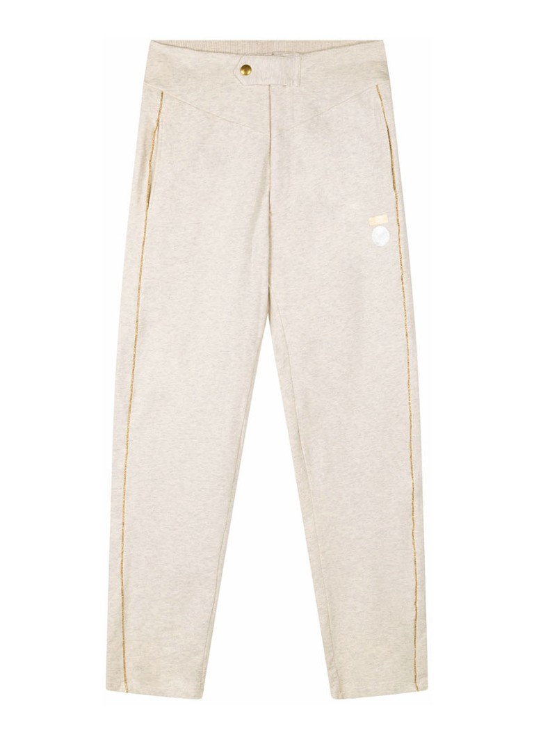 10DAYS - High waist slim fit joggingbroek met bies van lurex - Ivoor