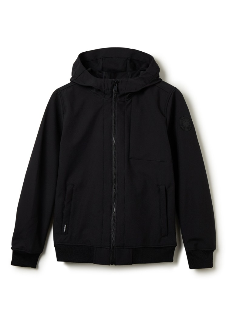 Airforce - Softshell jack met capuchon en applicatie - Zwart