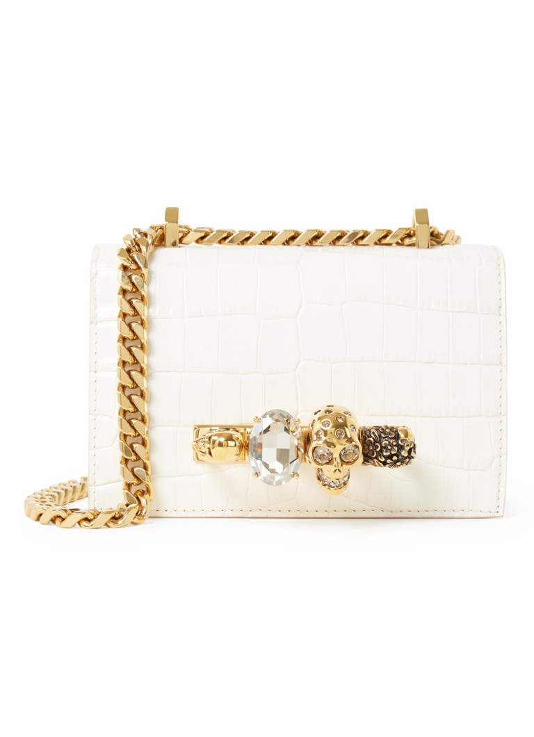 Alexander McQueen - Mini Jewelled crossbodytas van kalfsleer met crocostructuur - Wit
