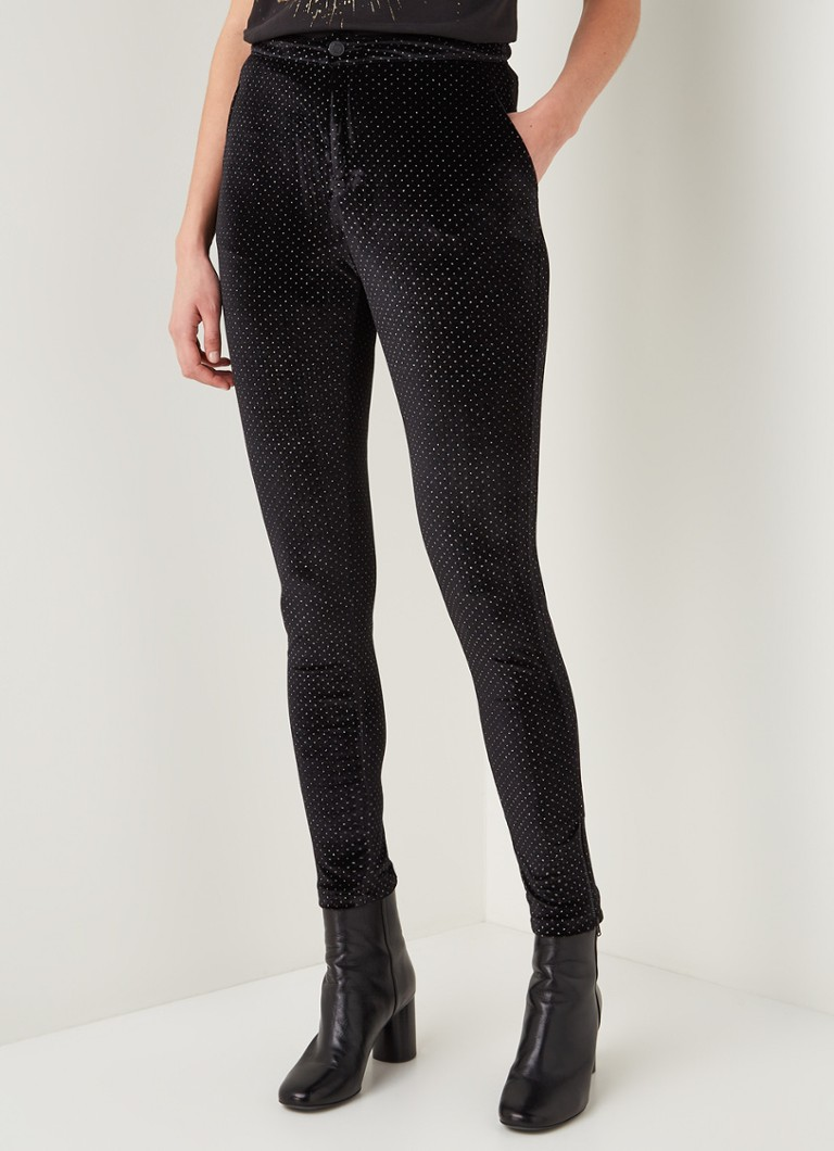 Alix The Label - Glitter Dot high waist skinny fit broek van fluweel - Zwart