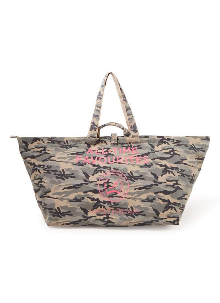 All-Time Favourites - Camouflage shopper groot van canvas met dessin - Legergroen