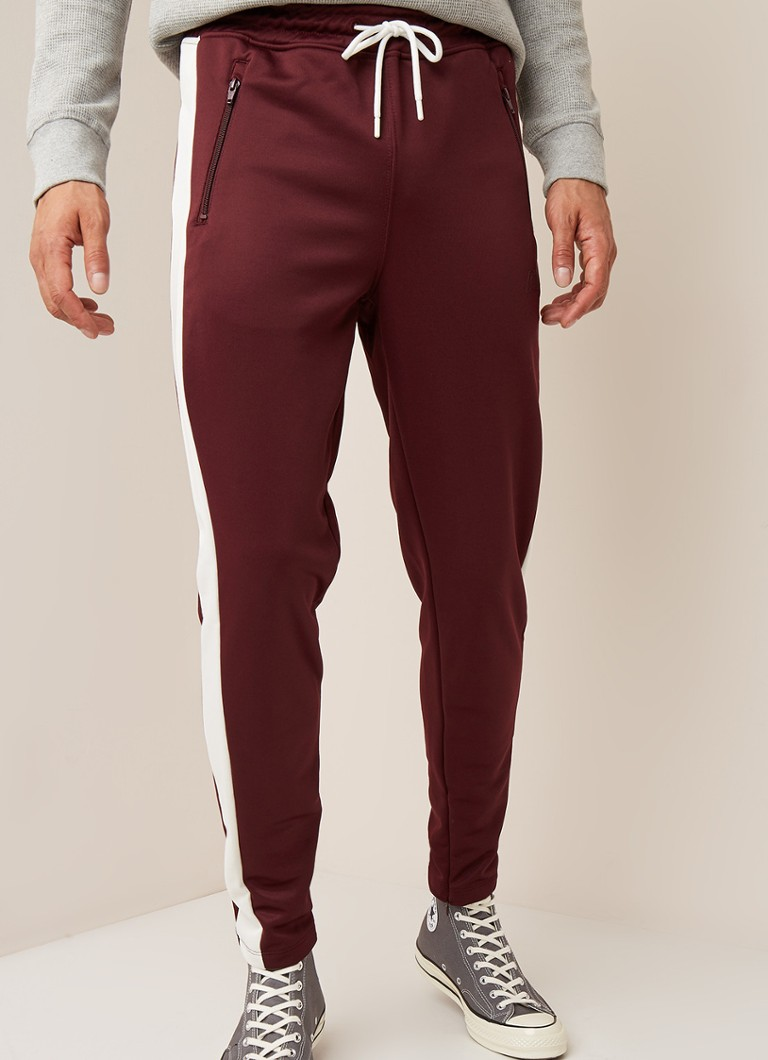 America Today - Carl tapered fit joggingbroek met streepdetail - Bordeauxrood