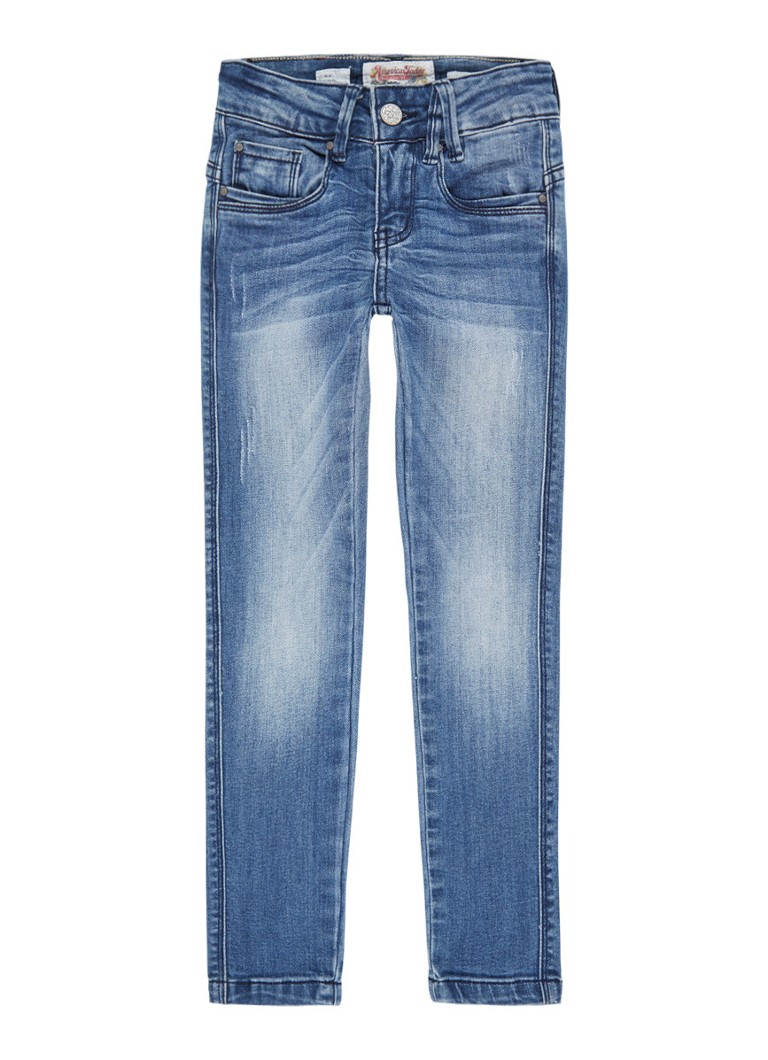 America Today - Emily II skinny fit jeans met faded look - Middenblauw