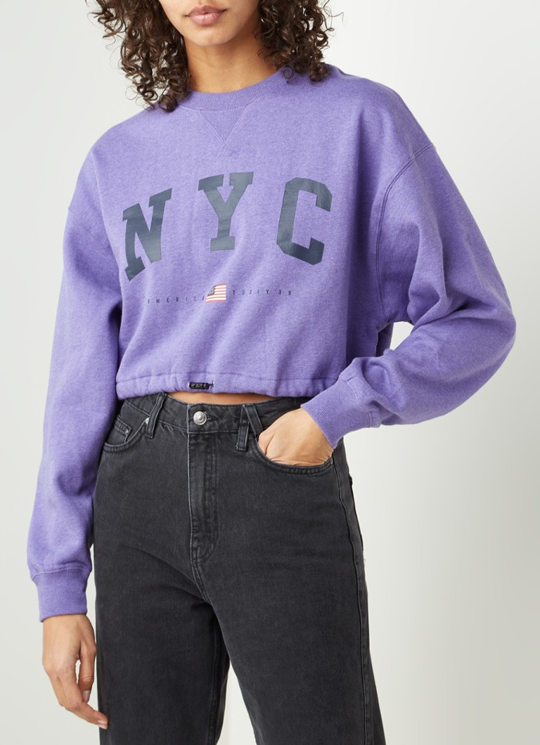 America Today - Sarah cropped sweater met frontprint - Paars