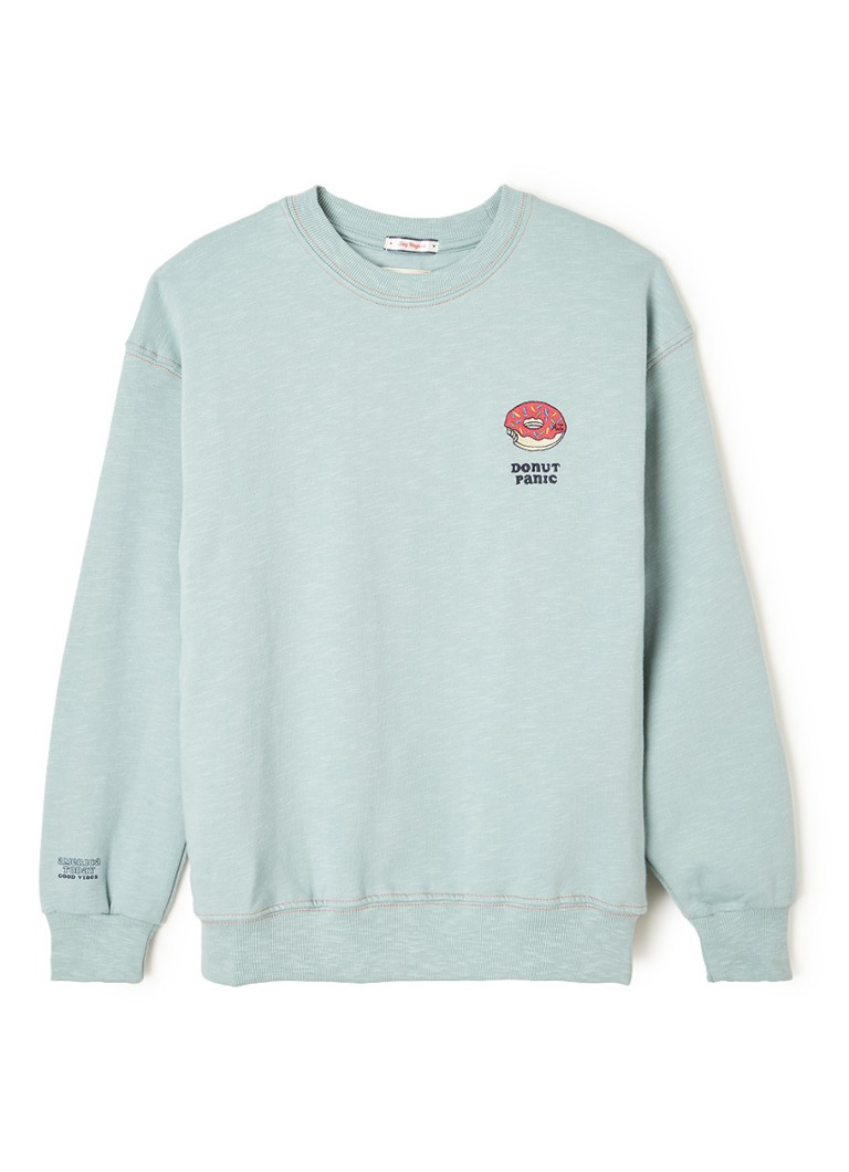 America Today - Selin gemêleerde sweater met borduring  - Mint