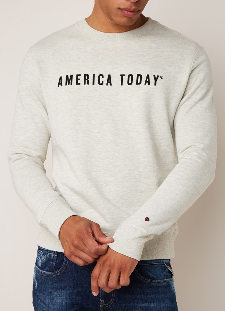 America Today - Story sweater met logoprint - Gebroken wit