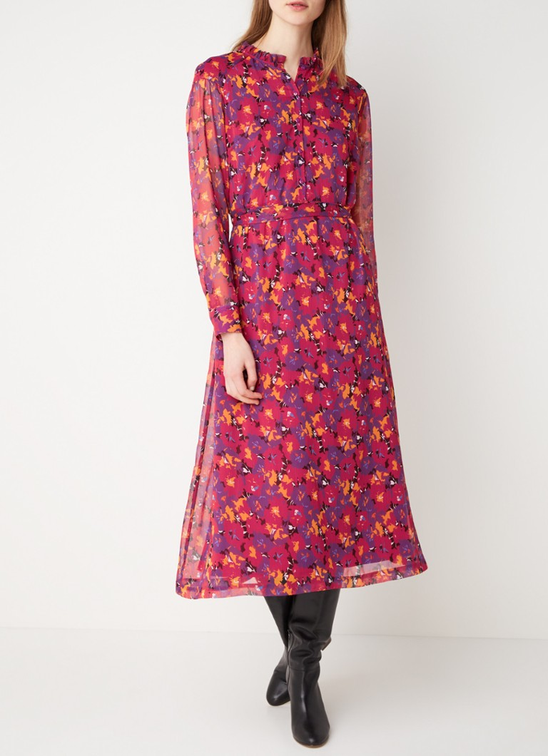 Another-Label - Amie midi-jurk met dessin en strikceintuur - Fuchsia