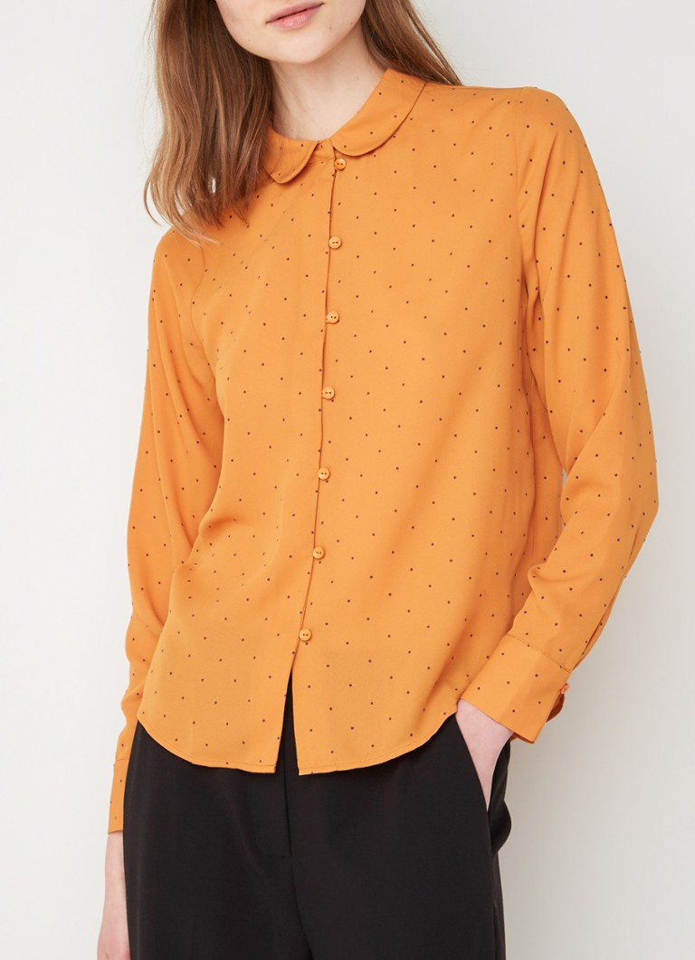 Another-Label - Reville blouse met stippendessin - Oranje