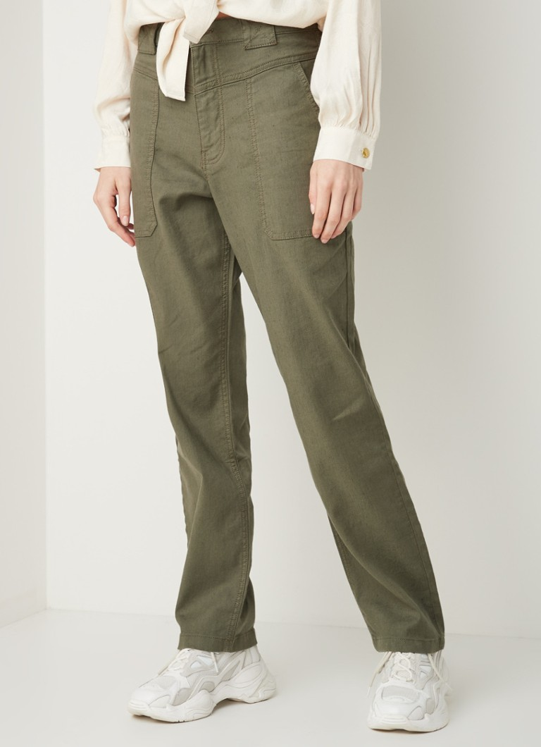 ba&sh - Curious loose fit broek in linnenblend - Khaki