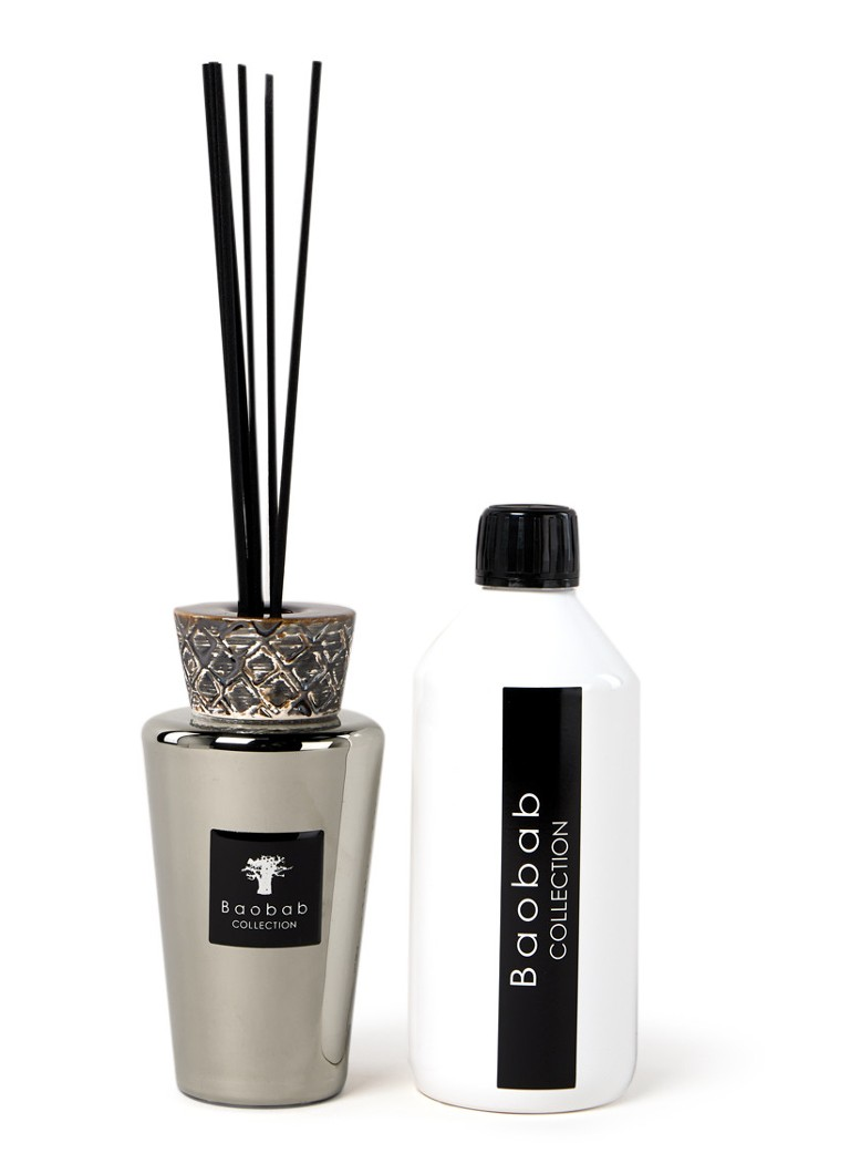 Baobab Collection - Mini Totem Platinum geurstokjes250 ml met navulling 500 ml - Zilver