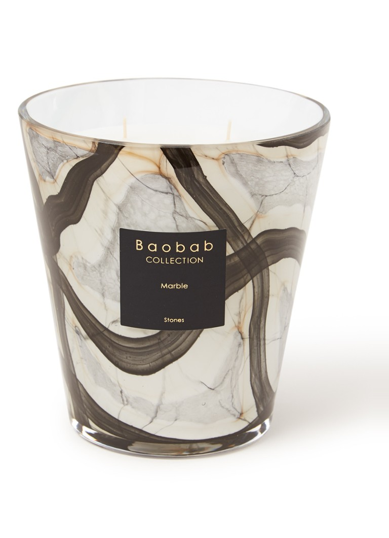Baobab Collection - Stones Marble geurkaars 20 cm - Creme