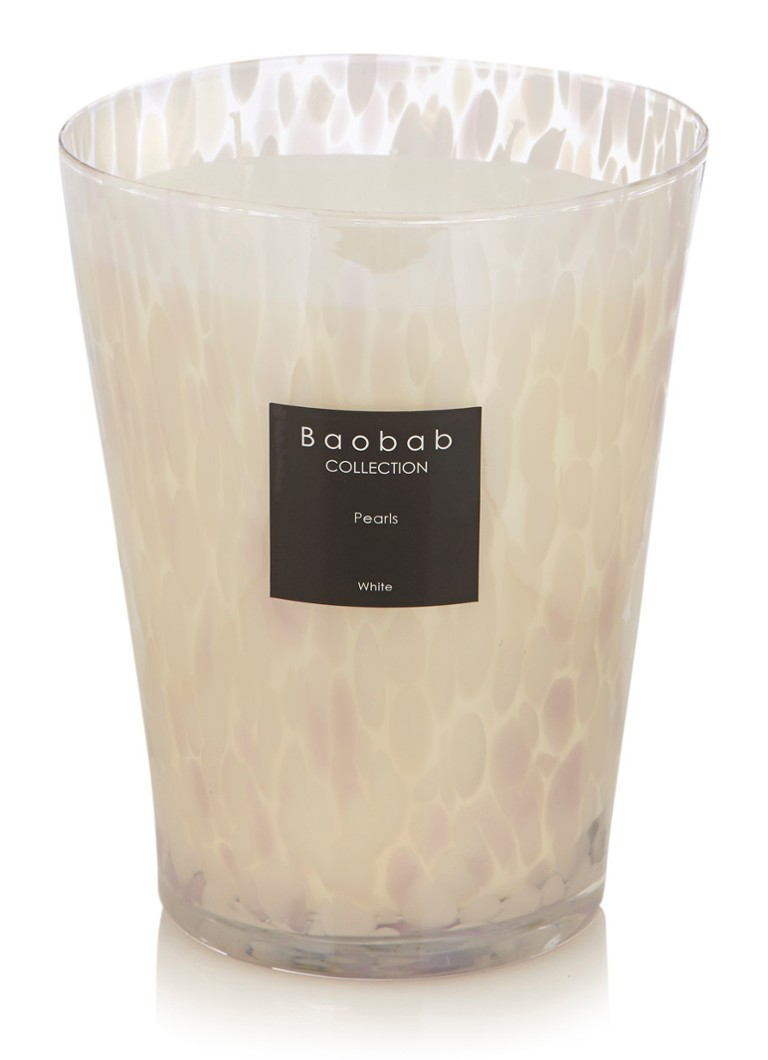 Baobab Collection - White Pearls geurkaars - Wit
