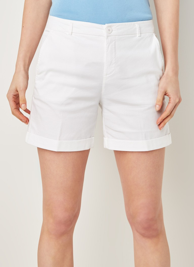 Benetton - Mid waist slim fit shorts met stretch - Wit