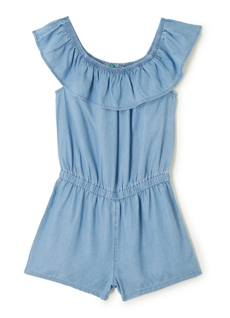 Benetton - Off-shoulder jumpsuit van chambray - Lichtblauw