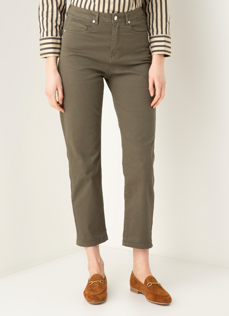 Benetton - Regular waist straight fit cropped chino met stretch - Bronsgroen