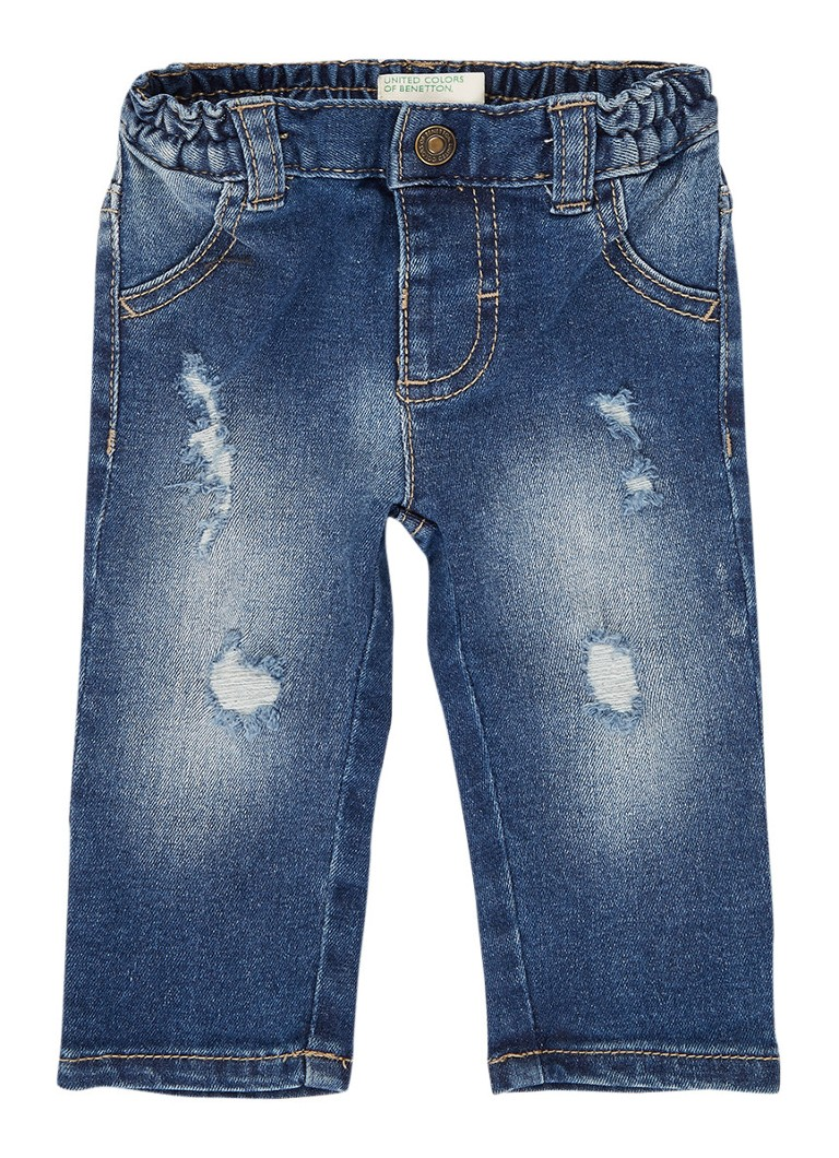 Benetton - Ripped slim fit jeans - Indigo