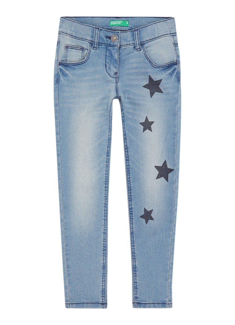 Benetton - Skinny fit jeans met sterrendessin - Lichtblauw