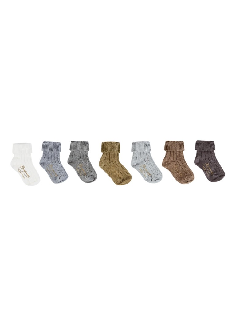 Bonpoint - Clair sok als giftset in 7-pack - Khaki