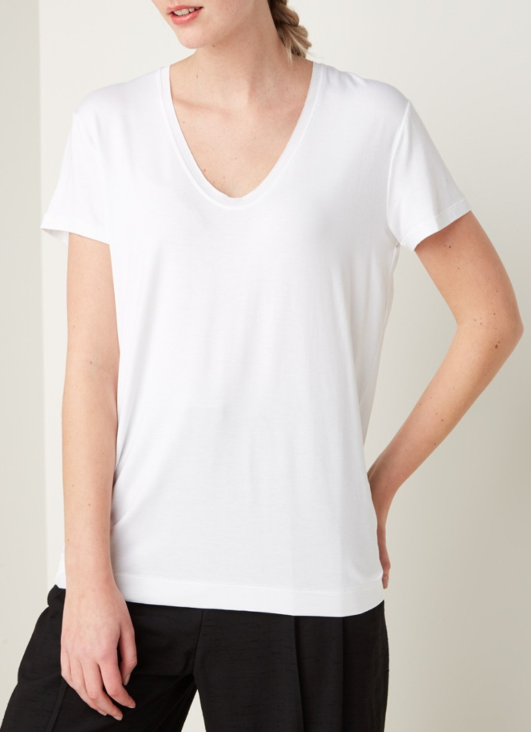 By Malene Birger - Fevia T-shirt met V-hals - Wit