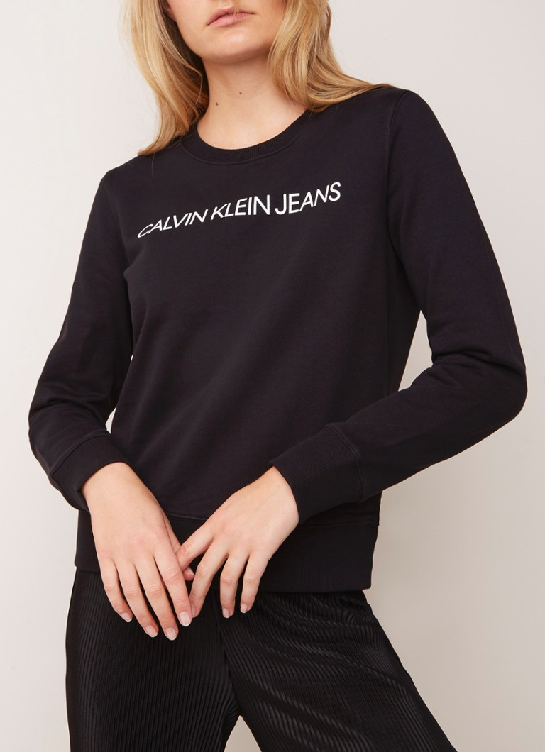 Calvin Klein - Institutional sweater met logoprint - Zwart