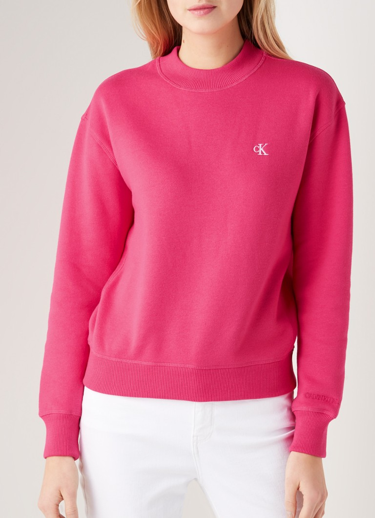 Calvin Klein - Regular fit sweater met logoborduring - Roze