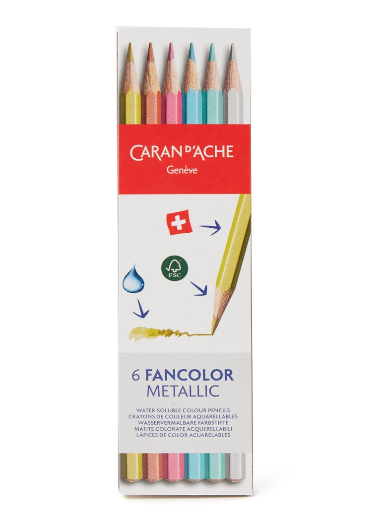 Caran d'Ache - Fancolor Metallic aquarelpotloden set van 6 - Multicolor