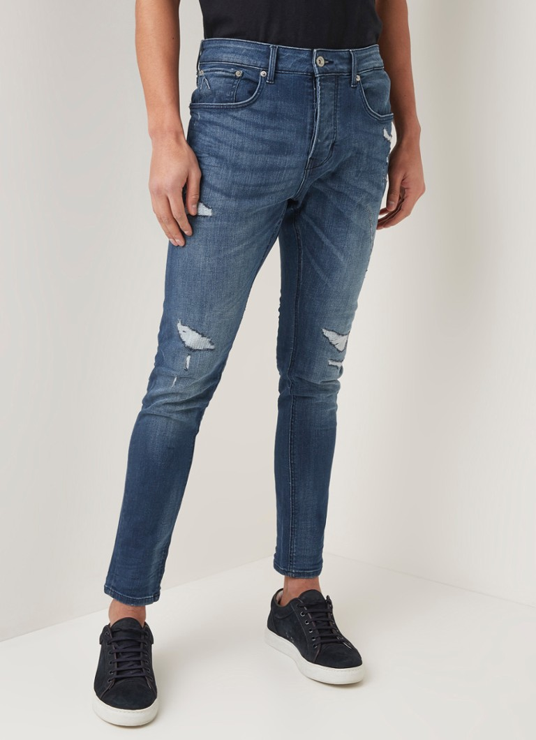 CHASIN' - Iggy skinny fit jeans met ripped look - Indigo
