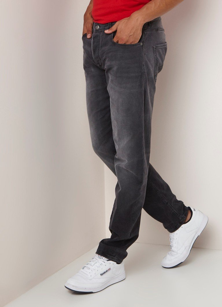 CHASIN' - Ross low rise tapered fit jeans met faded look  - Donkergrijs