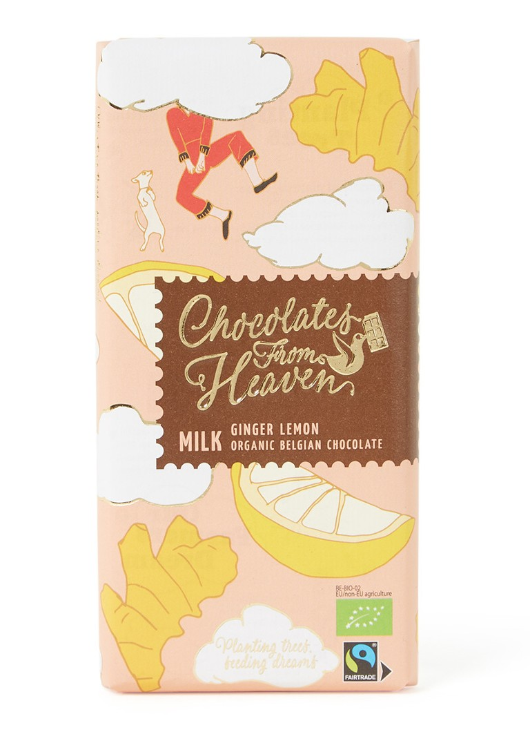 Chocolates From Heaven - Melk Gember Citroen chocoladereep 100 gram - Lichtroze