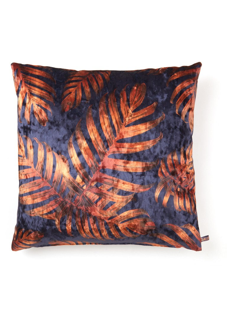 Claudi - Eco Jungle Leaves sierkussen 45 x 45 cm - Donkerblauw