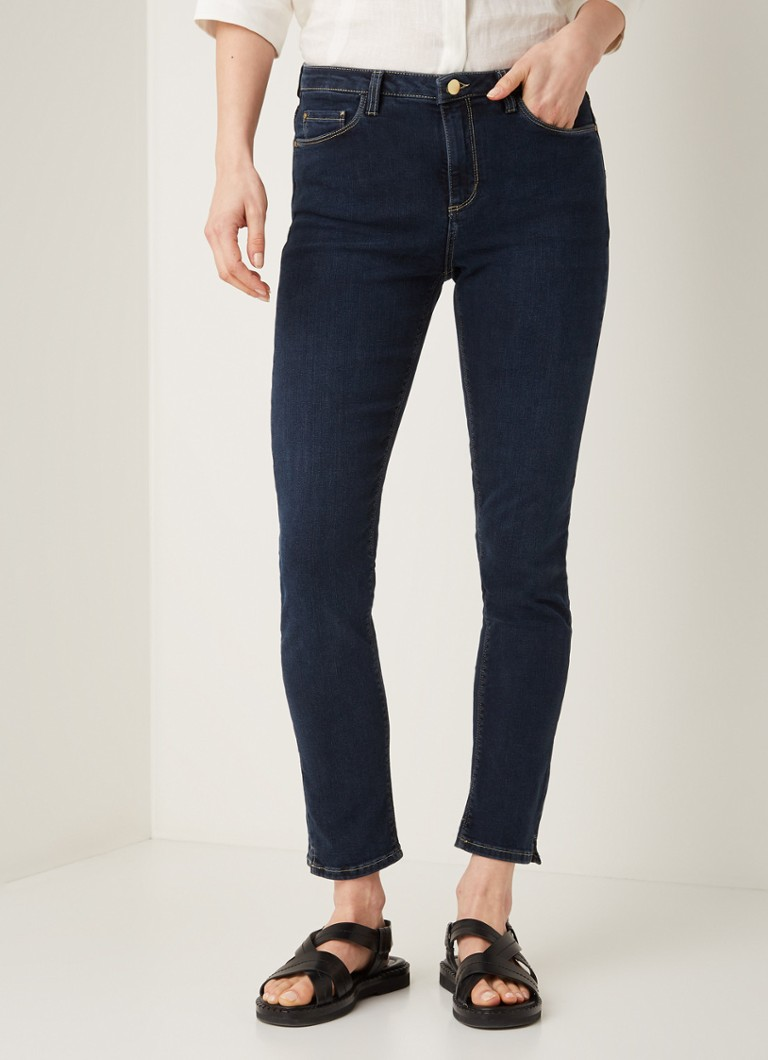 Claudia Sträter - High waist skinny fit jeans met donkere wassing - Blauw
