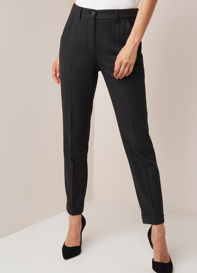 Claudia Sträter - High waist slim fit pantalon in wolblend  - Antraciet