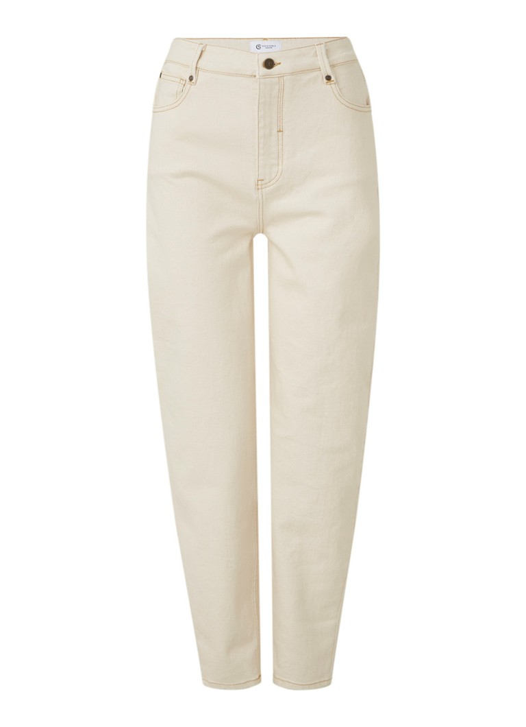 Claudia Sträter - High waist tapered fit cropped jeans met contraststiksel - Zand