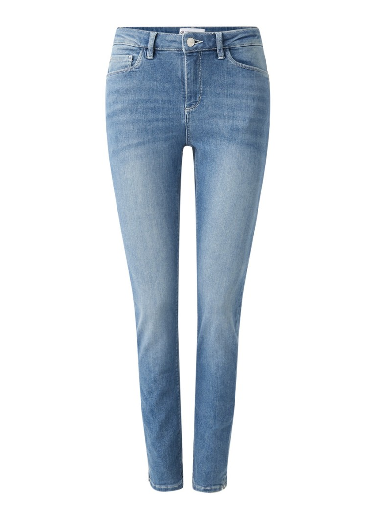 Claudia Sträter - Mid waist skinny fit cropped jeans met medium wassing - Indigo