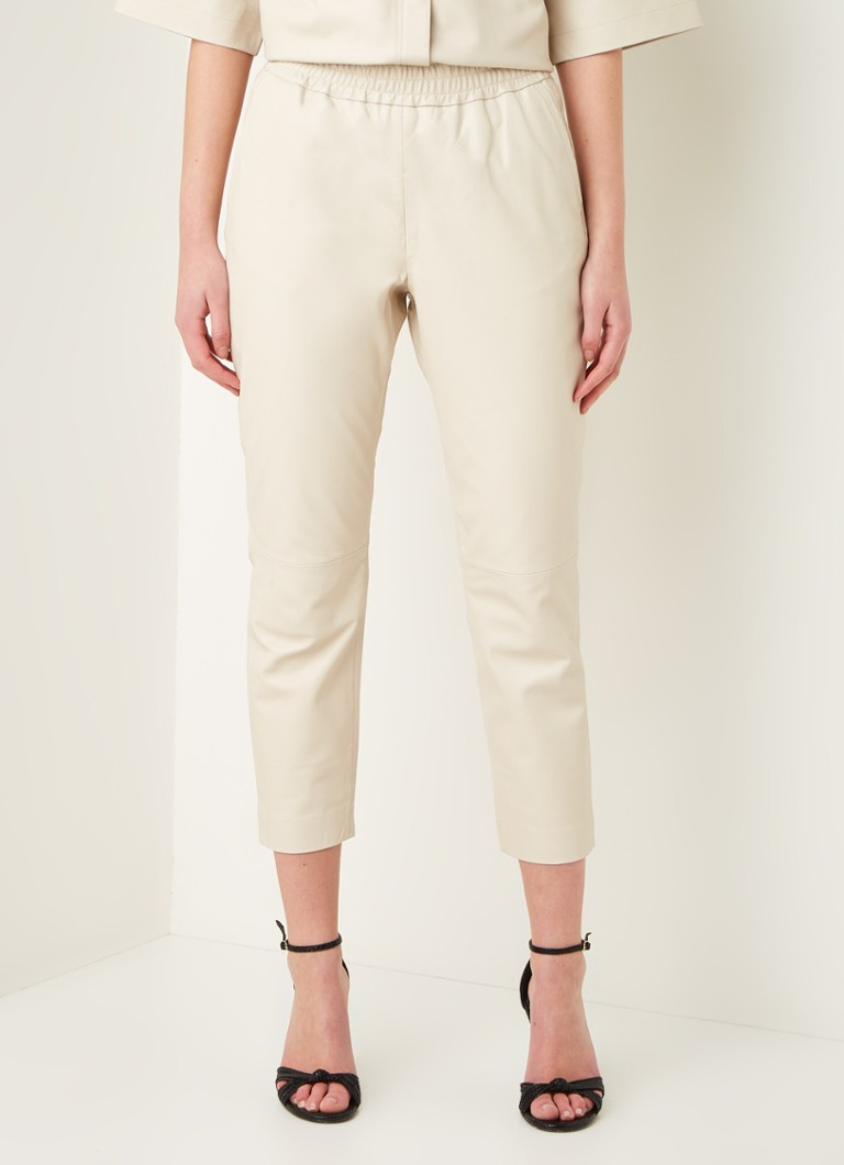 Co'Couture - Shiloh high waist slim fit cropped broek van lamsleer - Beige