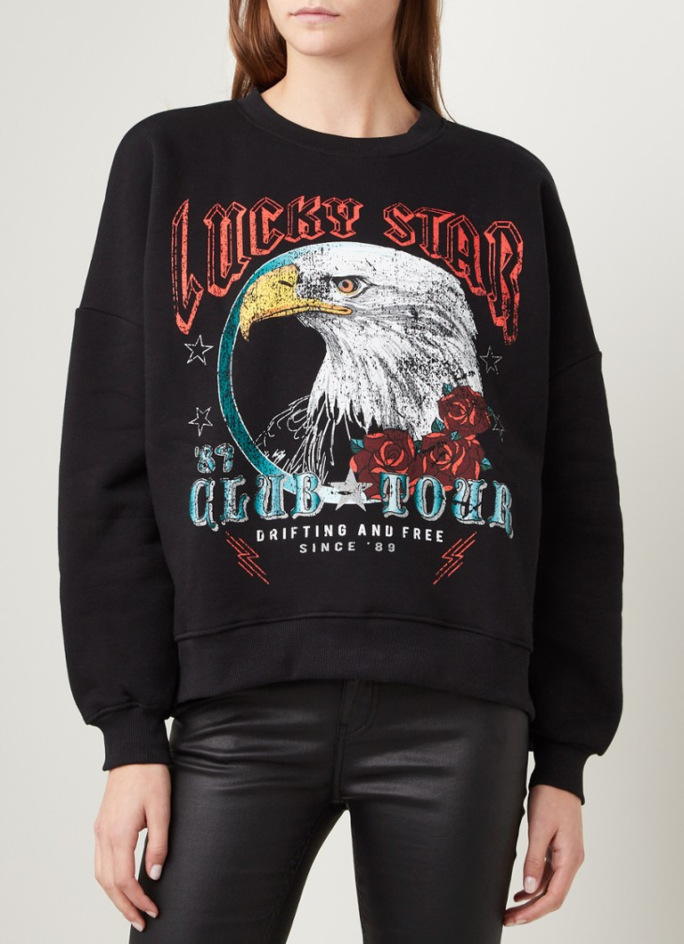 Colourful Rebel - Eagle sweater met frontprint - Zwart