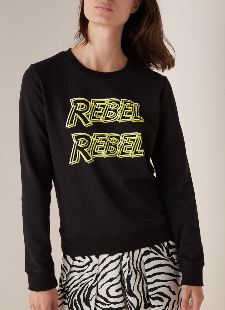 Colourful Rebel - Rebel Rebel sweater met print  - Zwart