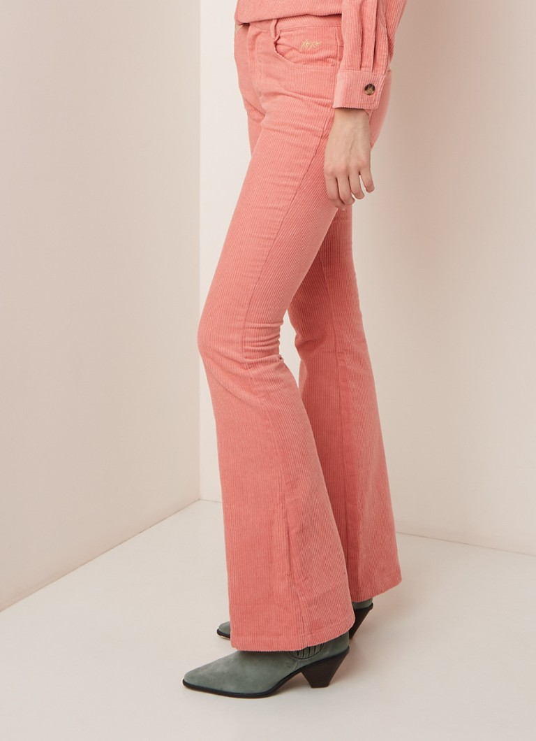 Colourful Rebel - Simmy high rise flared fit pantalon van corduroy - Perzikroze