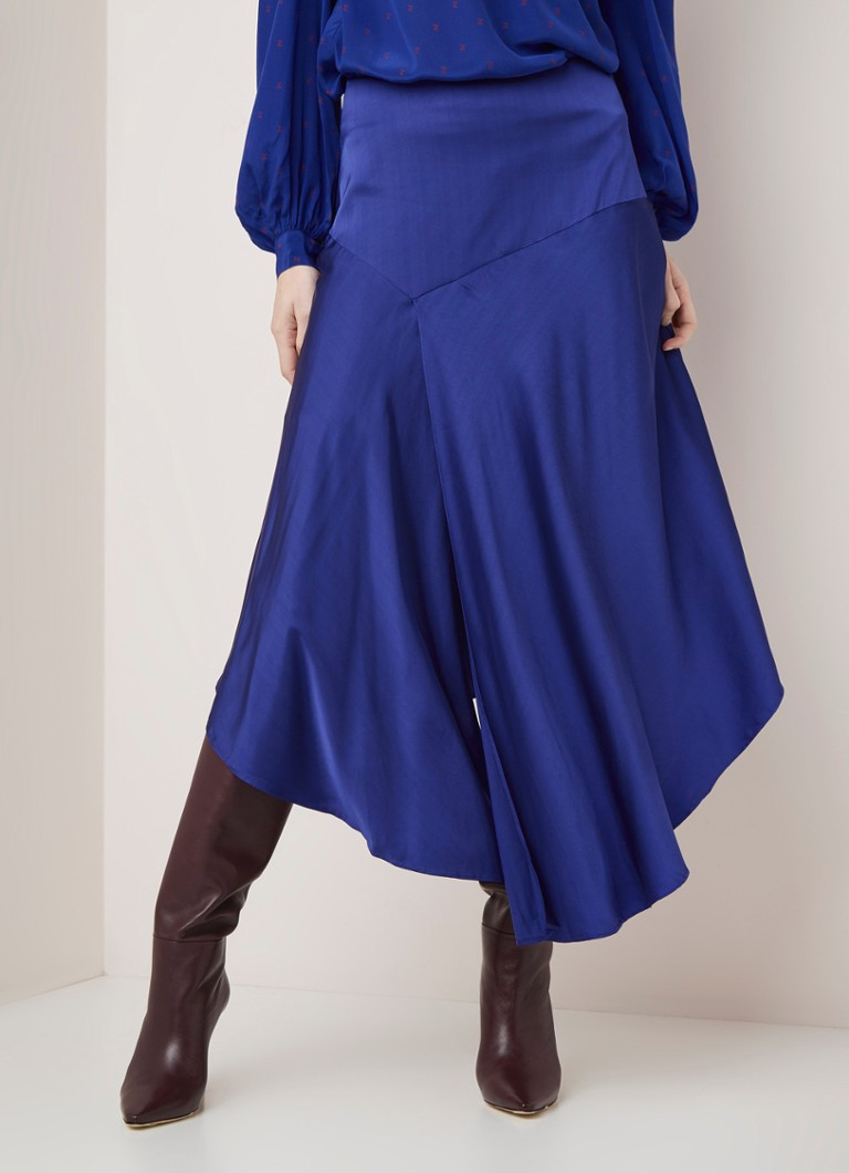 Custommade - Emmi midirok van satijn met split - Royalblauw