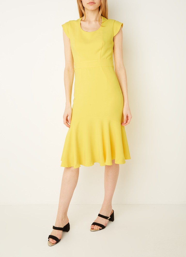 Damsel in a Dress - Abree midi jurk met peplum  - Geel