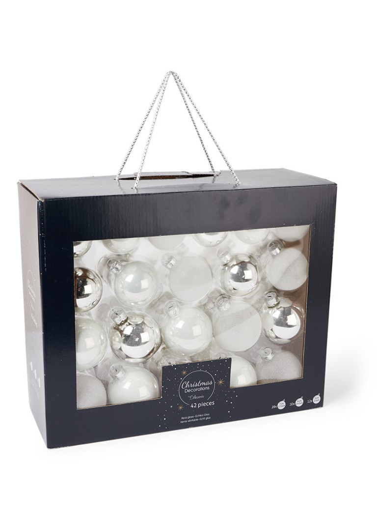 Decoris - Kerstbal set van 42 - Wit