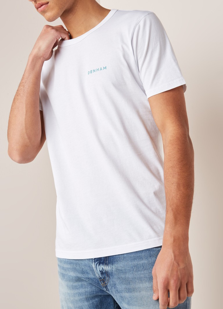 Denham - Selvedge Surfer T-shirt met logo backprint - Wit