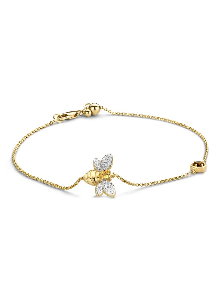 Diamond Point - Geelgouden armband 0.10 ct rookkwarts Queen Bee - Geelgoud