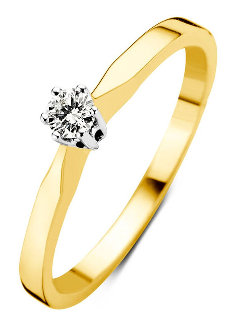 Diamond Point - Geelgouden solitair groeibriljant ring, 0.05 ct. 0.05 ct diamant Groeibriljant - Geelgoud