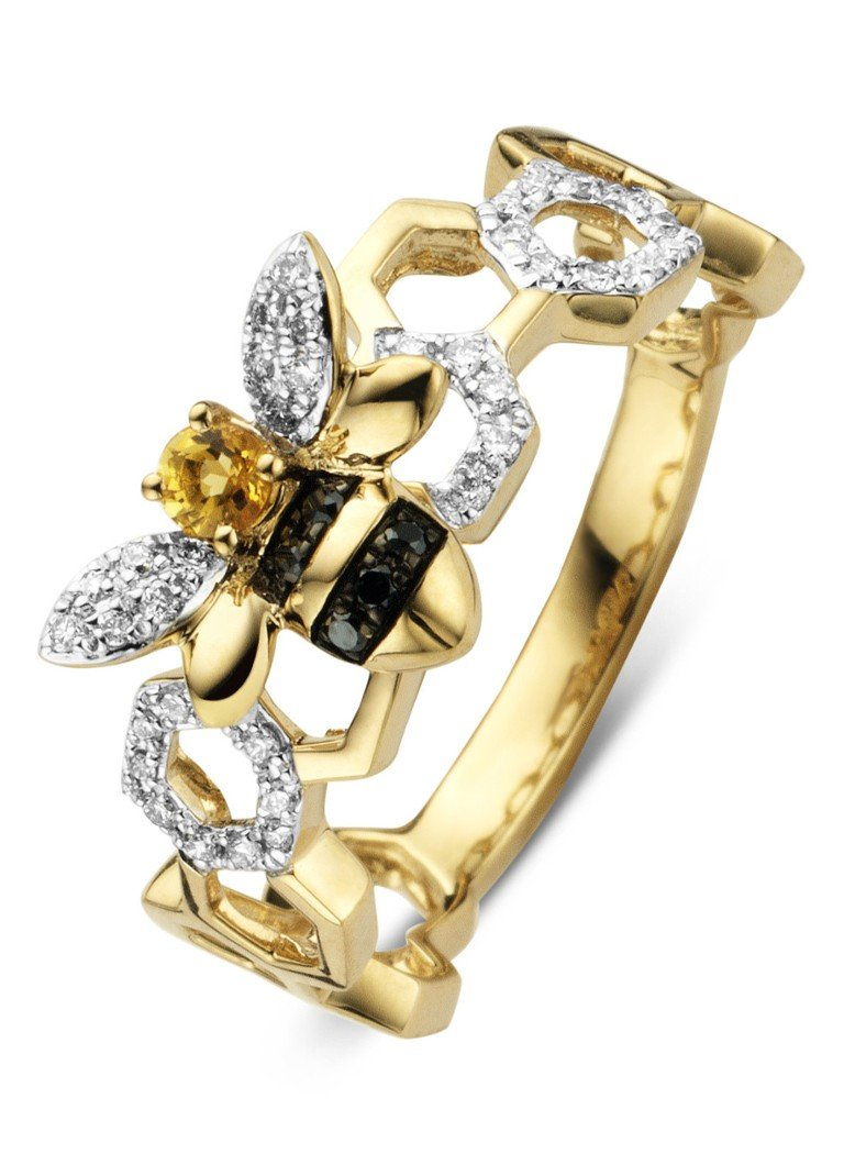 Diamond Point - Gouden ring 0.07 ct citrien Queen Bee - Goud