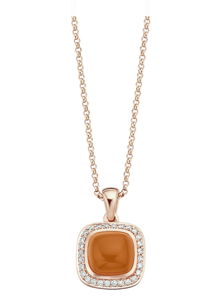 Diamond Point - Pendentif en or rose 3.46 ct pierre de lune orange Rhapsody - Or rose