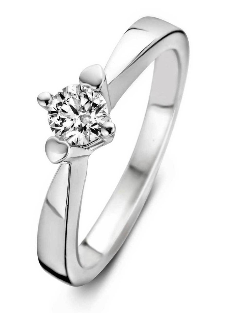Diamond Point - Witgouden ring 0.16 ct diamant Hearts & Arrows - Witgoud