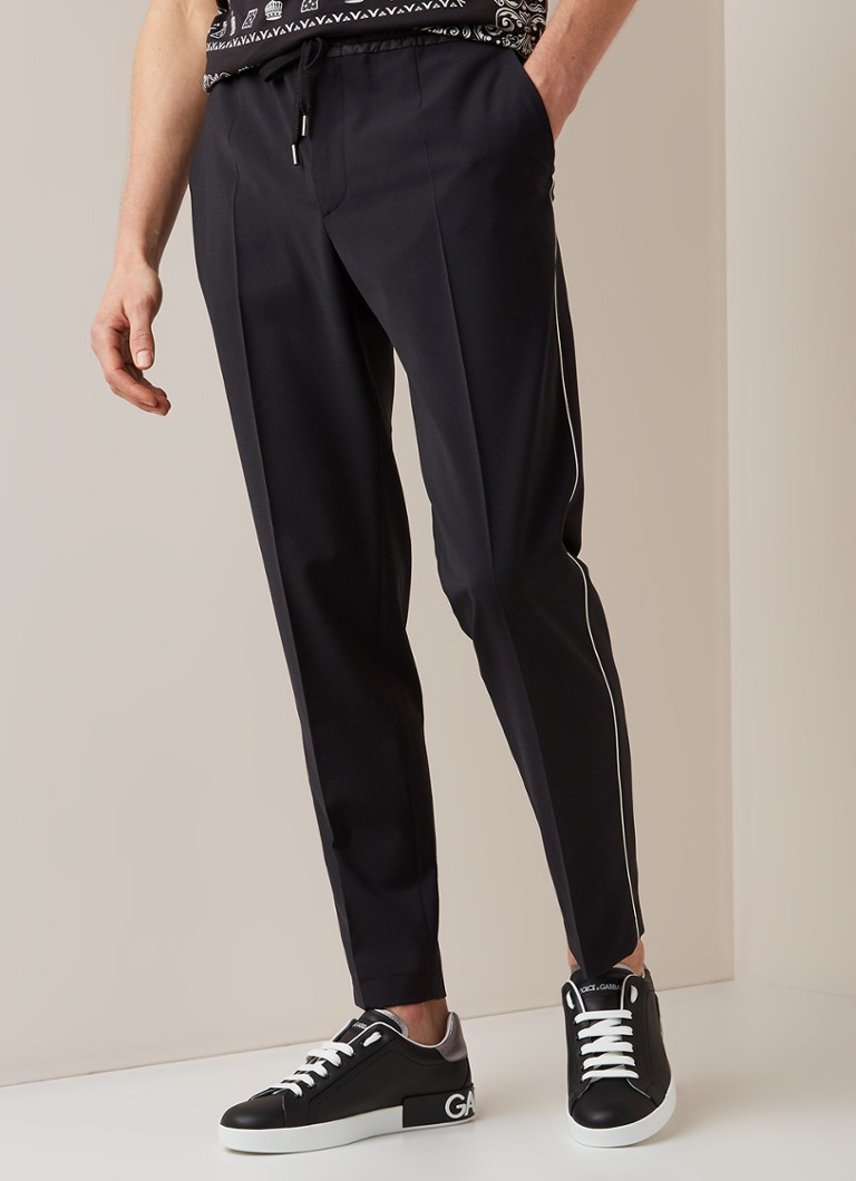 Dolce & Gabbana - Tapered fit track pants met contrastbies - Zwart