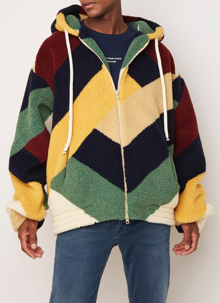 Drôle de Monsieur - Oversized teddy jas met colour blocking - Multicolor