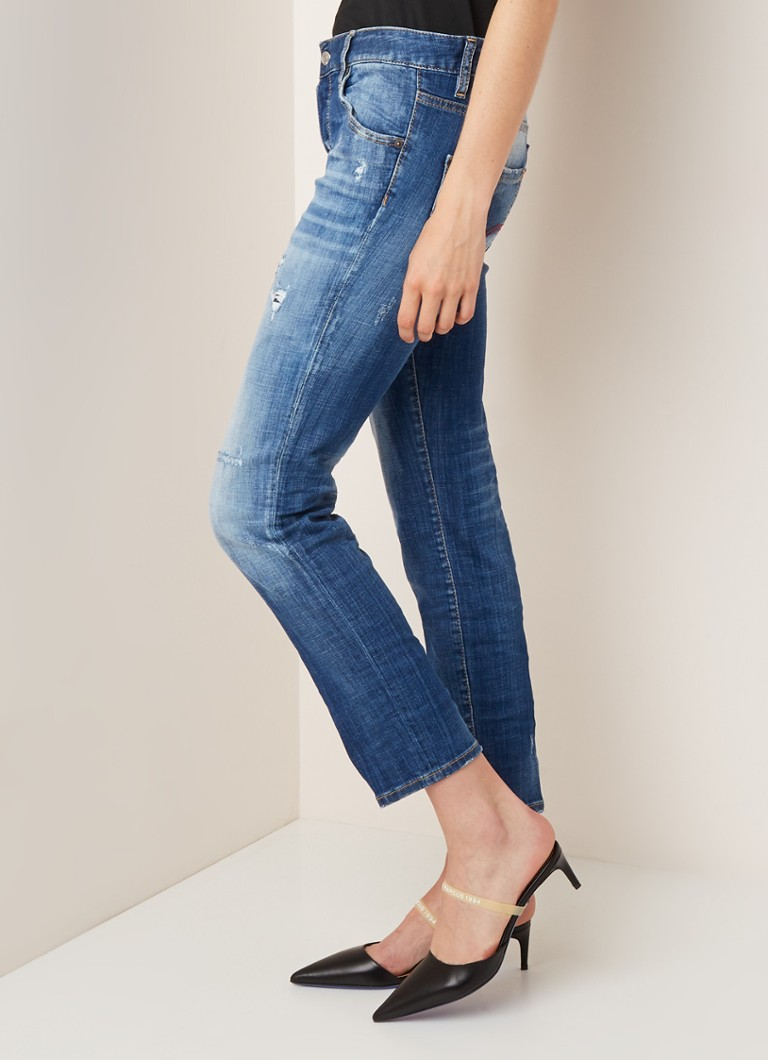 Dsquared2 - Dsquared2 Cool Girl mid waist slim fit jeans met ripped details - Indigo